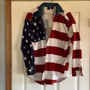 American flag flannel